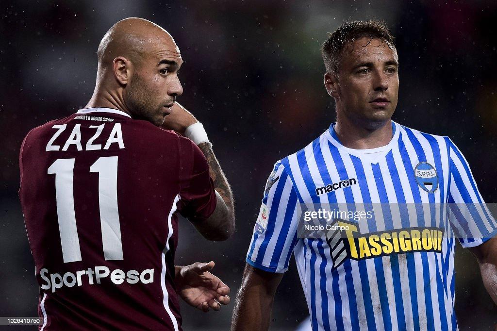 Simone Zaza (L) of Torino FC and Thiago Cionek of SPAL look... : News Photo