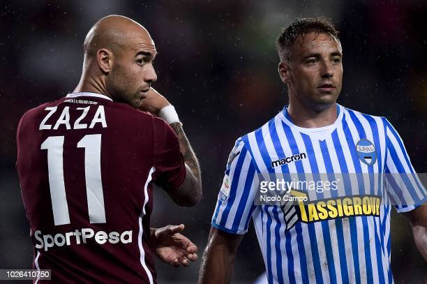 Simone Zaza of Torino FC and Thiago Cionek of SPAL look on during the Serie A football match between Torino FC and SPAL Torino FC won 10 over SPAL