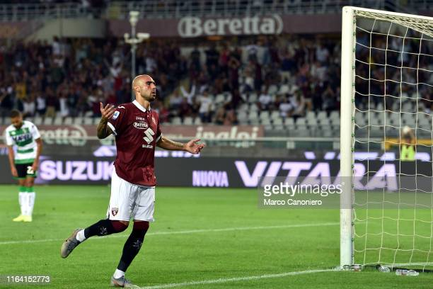 Simone Zaza of Torino FC celebrate after scoring a goal during the Serie A match between Torino Fc and Us Sassuolo Calcio Torino Fc wins 21 over Us...