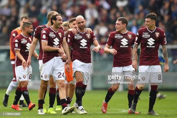 Simone Zaza of Torino FC celebrates a goal with team mates during the Serie A match between Torino FC and Chievo at Stadio Olimpico di Torino on...