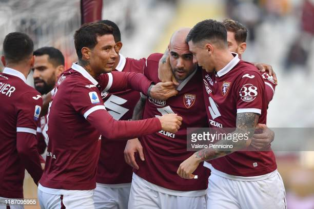 Simone Zaza of Torino FC celebrates his opening goal with team mates during the Serie A match between Torino FC and ACF Fiorentina at Stadio Olimpico...