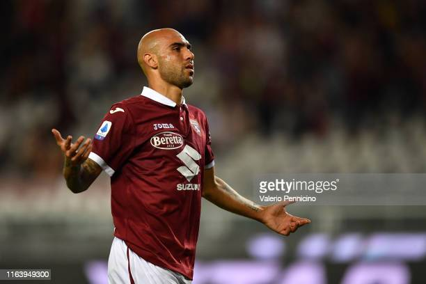 Simone Zaza of Torino FC celebrates the opening goal during the Serie A match between Torino FC and US Sassuolo at Stadio Olimpico di Torino on...