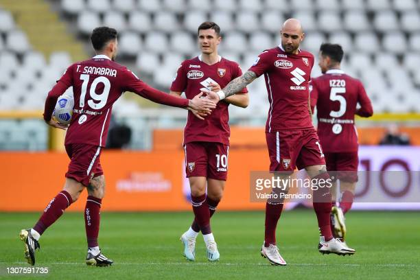 Simone Zaza of Torino F.C. Celebrates with Antonio Sanabria after scoring his sides first goal during the Serie A match between Torino FC and US...