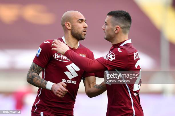 Simone Zaza of Torino F.C. Celebrates with Federico Bonazzoli after scoring his sides third goal during the Serie A match between Torino FC and US...