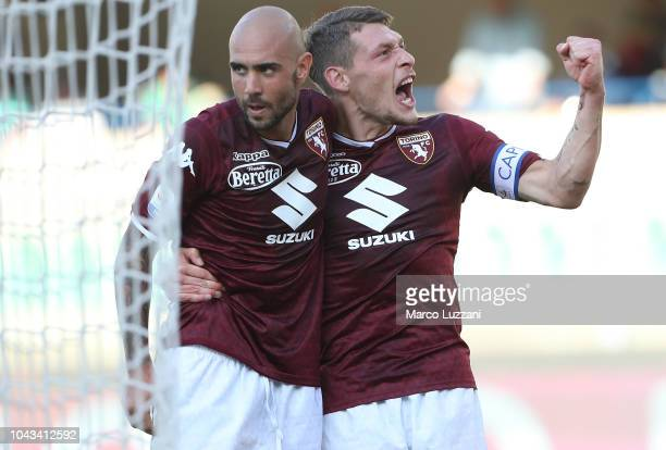 Simone Zaza of Torino FC celebrates with his teammate Andrea Belotti after scoring the opening goal during the Serie A match between Chievo Verona...