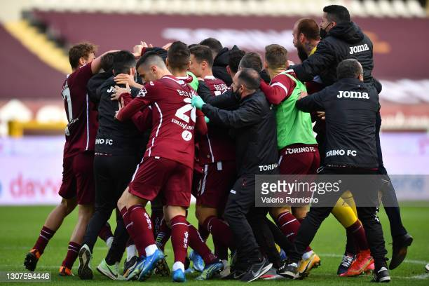 Simone Zaza of Torino F.C. Celebrates with team mates after scoring his sides third goal during the Serie A match between Torino FC and US Sassuolo...