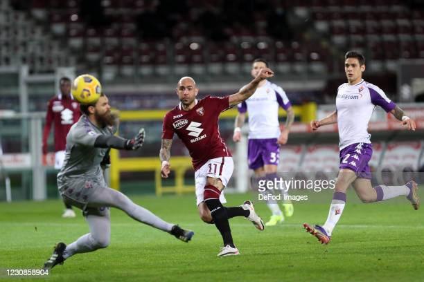 Simone Zaza of Torino FC controls the ball during the Serie A match between Torino FC and ACF Fiorentina at Stadio Olimpico di Torino on January 29,...