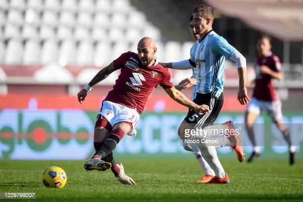 Simone Zaza of Torino FC scores a goal during the Coppa Italia football match between Torino FC and Virtus Entella Torino FC won 20 over Virtus...