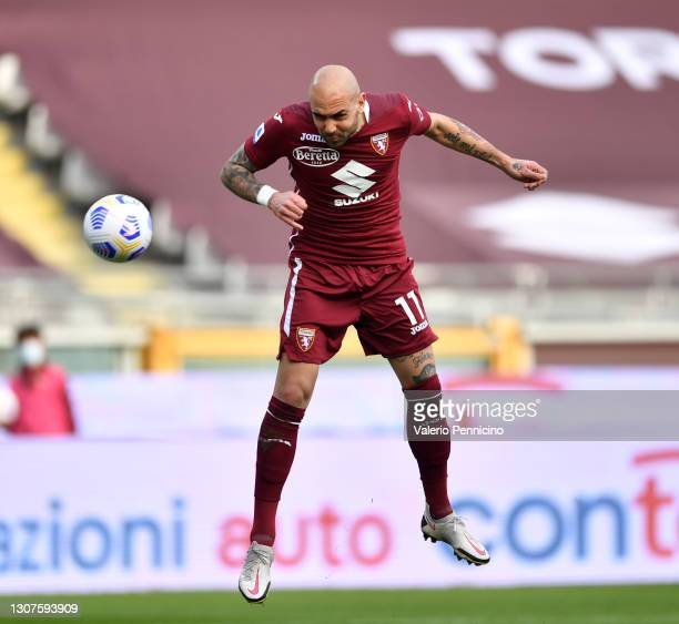 Simone Zaza of Torino F.C. Scores his sides third goal during the Serie A match between Torino FC and US Sassuolo at Stadio Olimpico di Torino on...
