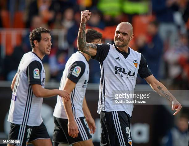 Simone Zaza of Valencia celebrates after scoring a goal during the La Liga match between Valencia and Deportivo Alaves at Mestalla stadium on March...