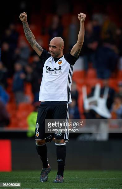 Simone Zaza of Valencia celebrates the victory at the La Liga match between Valencia and Deportivo Alaves at Mestalla stadium on March 17 2018 in...