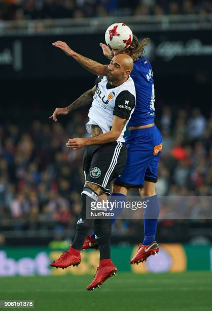 Simone Zaza of Valencia CF and Alexis Ruano of Deportivo Alaves during the Spanish Copa del Rey Round of 8 match between Valencia CF and Deportivo...