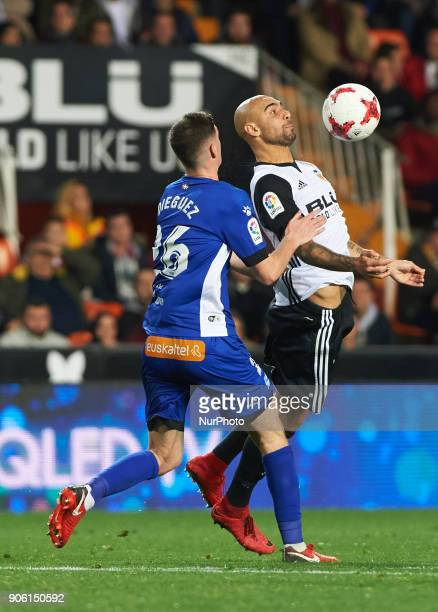 Simone Zaza of Valencia CF and Dieguez of Deportivo Alaves during the Spanish Copa del Rey Round of 8 match between Valencia CF and Deportivo Alaves...