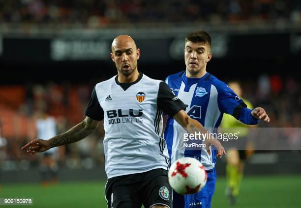 Simone Zaza of Valencia CF and Martin Arreguigabiria of Deportivo Alaves during the Spanish Copa del Rey Round of 8 match between Valencia CF and...