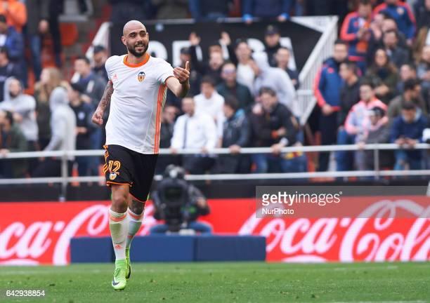 Simone Zaza of Valencia CF celebrates his goal during their La Liga match between Valencia CF and Athletic Club de Bilbao at the Estadio de Mestalla...