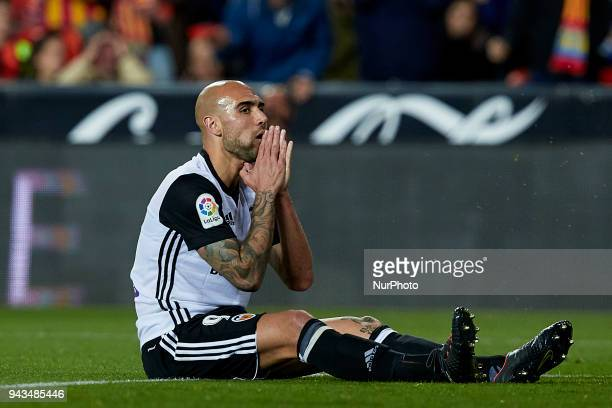 Simone Zaza of Valencia CF reacts after missing a chance during the La Liga game between Valencia CF and RCD Espanyol at Mestalla on April 8 2018 in...