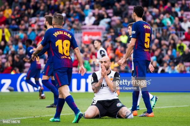 Simone Zaza of Valencia CF reacts after missing a chance to score during the La Liga match between Barcelona and Valencia at Camp Nou on April 14...