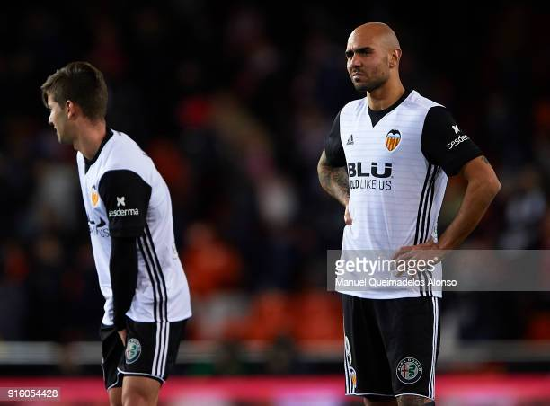 Simone Zaza of Valencia CF reacts during the Copa del Rey semifinal second leg match between Valencia and Barcelona on February 8 2018 in Valencia...