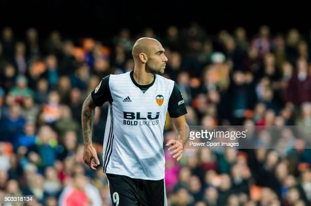 Simone Zaza of Valencia CF reacts during the La Liga 201718 match between Valencia CF and Villarreal CF at Estadio de Mestalla on 23 December 2017 in...
