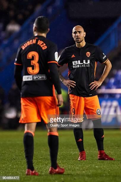 Simone Zaza of Valencia CF reacts during the La Liga match between Deportivo La Coruna and Valencia CF at Abanca Riazor Stadium on January 13 2018 in...