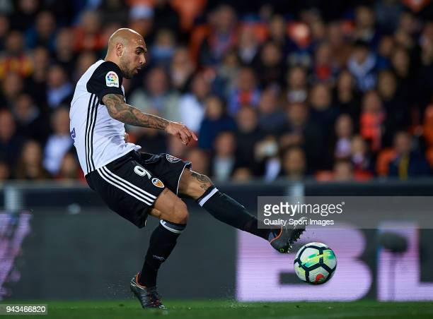 Simone Zaza of Valencia in action during the La Liga match between Valencia and Espanyol at Mestalla Stadium on April 8 2018 in Valencia Spain
