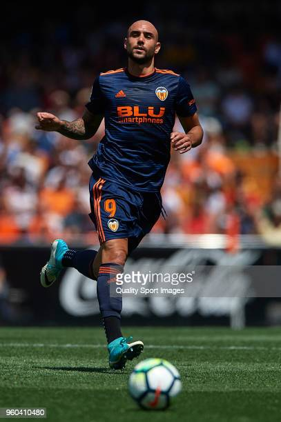 Simone Zaza of Valencia in action during the La Liga match between Valencia and Deportivo La Coruna at Mestalla Stadium on May 20 2018 in Valencia...