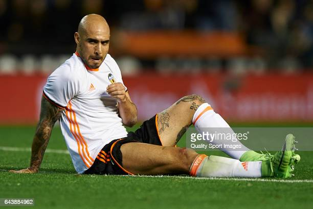 Simone Zaza of Valencia lies on the pitch during the La Liga match between Valencia CF and Real Madrid at Mestalla Stadium on February 22 2017 in...