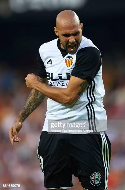 Simone Zaza of Valencia reacts during the La Liga match between Valencia and Sevilla at Estadio Mestalla on October 21 2017 in Valencia Spain