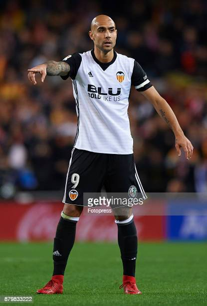 Simone Zaza of Valencia reacts during the La Liga match between Valencia and Barcelona at Estadio Mestalla on November 26 2017 in Valencia Spain
