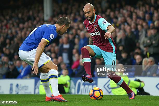 Simone Zaza of West Ham United takes on Phil Jagielka of Everton during the Premier League match between Everton and West Ham United at Goodison Park...