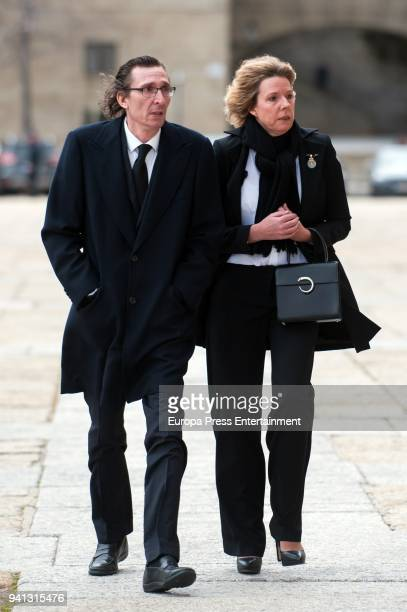 Simoneta Gomez Acebo and Fernando Gomez Acebo attend the mass to mark the 25th Anniversary of the Count of Barcelona's death at the monastery of El...