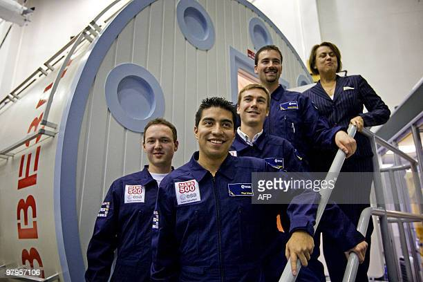 Simonetta Di Pippo Director of Human Spaceflight at ESA poses togeter with the candidates Romain Charles Jerome Clevers Arc'hanmael Gaillard and...