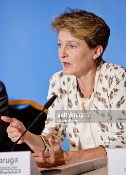 Simonetta Sommaruga head of the Swiss justice and police department speaks at a press conference of a meeting of interior ministers from German...