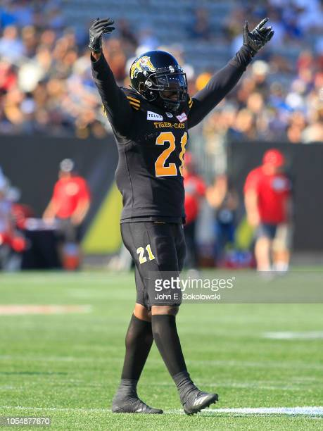 Simoni Lawrence of the Hamilton TigerCats celebrates a play against the Calgary Stampeders during a game at Tim Hortons Field on September 15 2018 in...