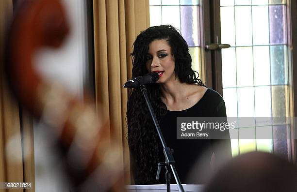 Simonne Jones musician and artist rehearses for the ORSO RockSymphonyNight in the Evangelische PhilippusNathanael Kirchengemeinde church on May 4...