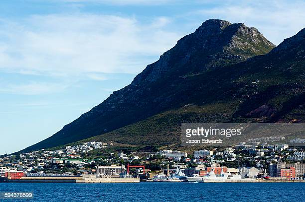 A naval base and fishing town nestled beneath a mountain.