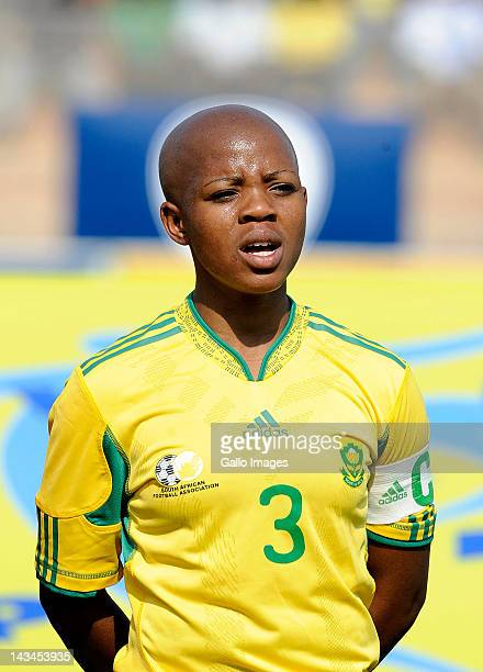 Simphiwe Dludlu of South Africa lines up for the national anthem prior to the international friendly match between South Africa and Mali at Makhulong...