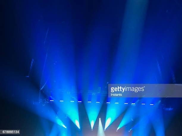 Simple and generic blue show lights, as often used for all kinds of artistic performances.