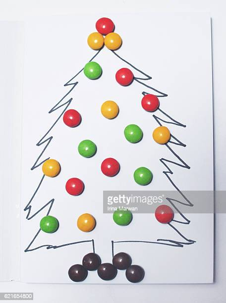 Simple Christmas Tree Illustration with Candy Decorations