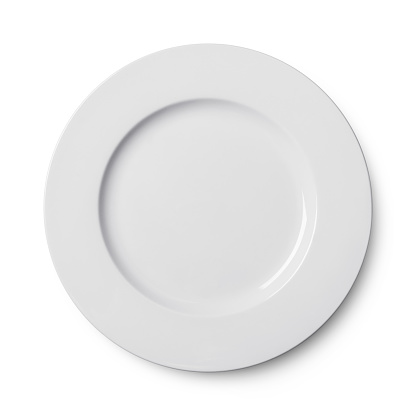 Simple circular porcelain plate isolated on whit 860188194