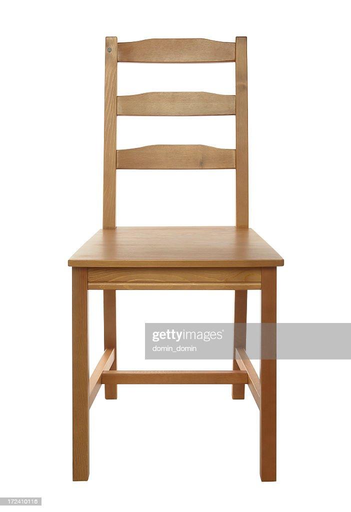Schlichte, klassische Holz Stuhl isoliert auf weißem Hintergrund, studio-Aufnahme : Stock-Foto