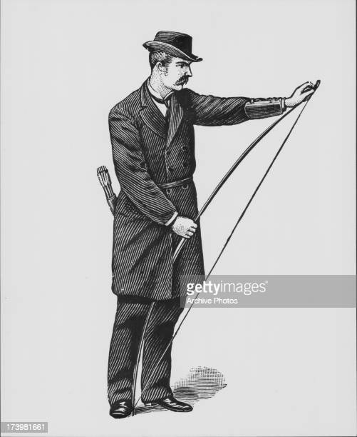 Simple illustration of a gentleman stringing a longbow 1887