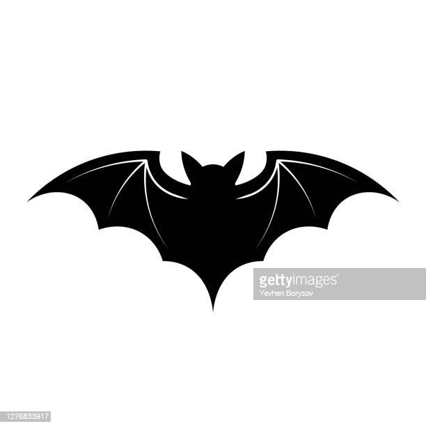 simple illustration of bat silhouette for halloween day greeting cards - symbol stock pictures, royalty-free photos & images