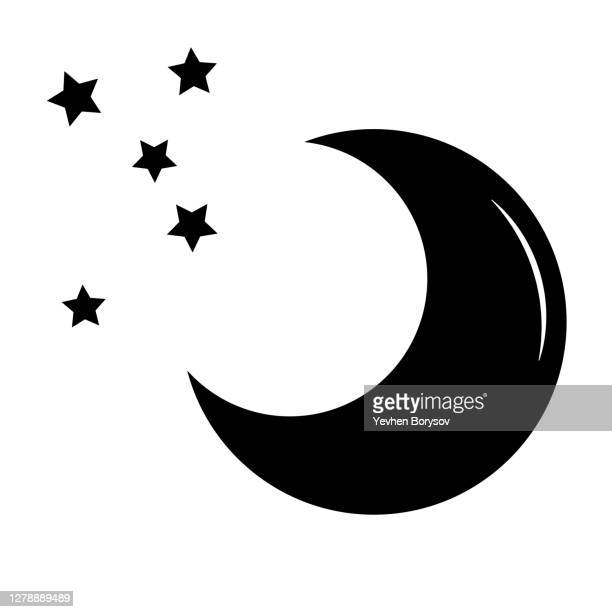 simple illustration of moon icon concept of halloween day - flower moon stock pictures, royalty-free photos & images