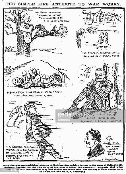 Simple life antidote to war worry W K Haselden cartoon Daily Mirror 6th May 1916 The Prime Minister enjoying a little treeclimbing on a Saturday...