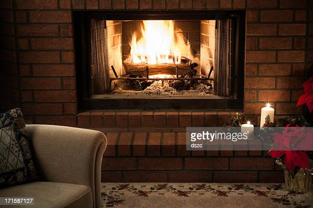 simple livingroom Christmas Fireplace scene