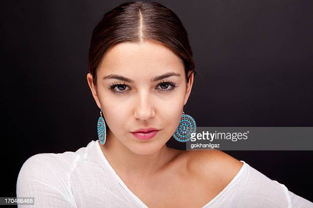 simple make-up - earring stock pictures, royalty-free photos & images
