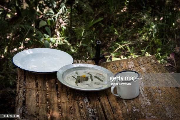 A simple meal of vegetables which are part of the daily rations of guerillas of the New People's Army on April 1 2017 in the remote hinterlands of...