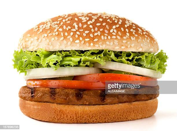 simple meat burger isolated on white - hamburger stock pictures, royalty-free photos & images