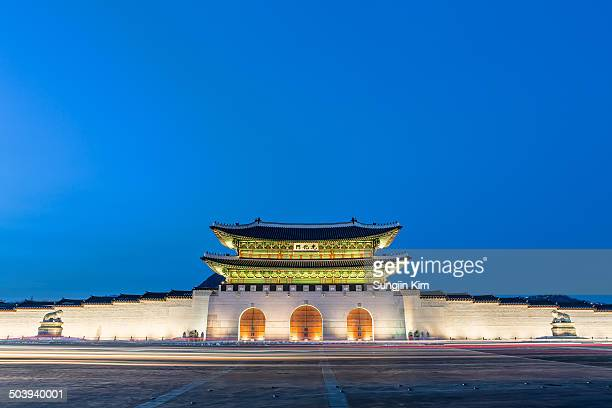 Simple nightscape of Gwanghwamun Gate, Seoul, 2013